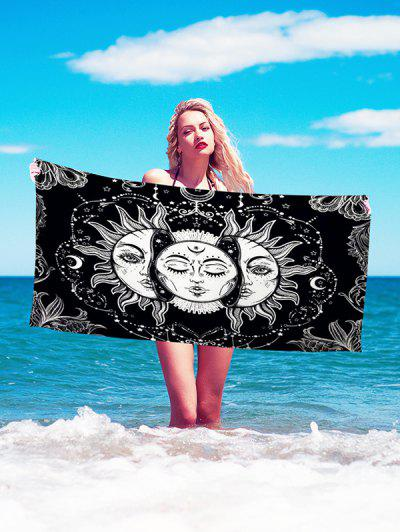 Bohemian Sun And Moon Face Print Beach Throw - Jet Black 75 X 150cm