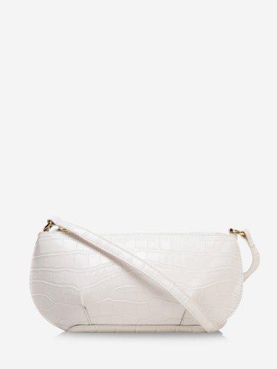 Bolsa De Ombro Texturizada Em Couro Com Zíper - Branco