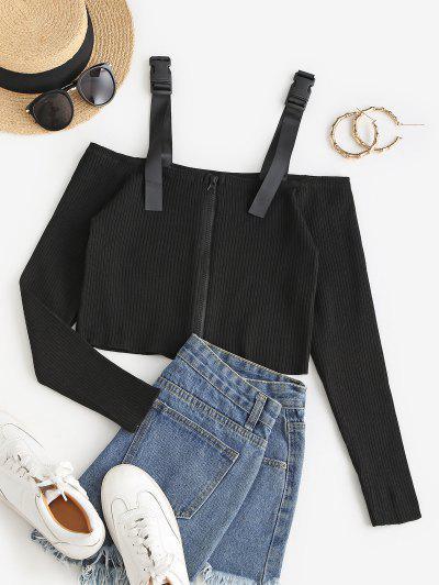 Buckled Zip Up Cold Shoulder Knitwear - Black