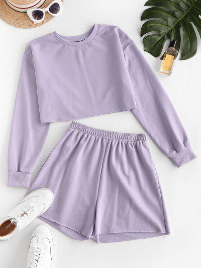 ZAFUL French Terry Raw Cut Two Piece Shorts Set - Light Purple S