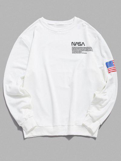 Sweatshirt Drapeau Américain Lettre Imprimée à Ourlet Côtelé - Blanc S
