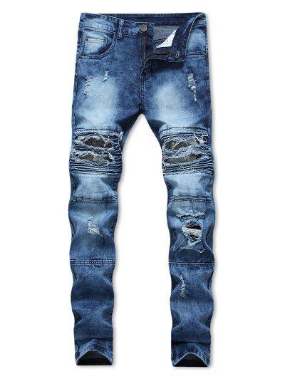 Distressed Ripped Bike Jeans - Blue 32
