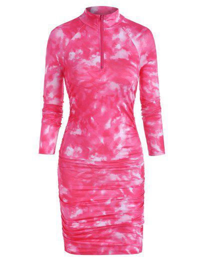 Zip Front Tie Dye Gathered Mini Dress - Red M