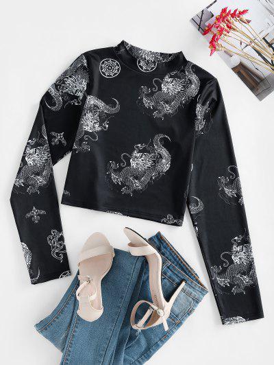 ZAFUL Dragon Print Oriental Crop T-shirt - Black M