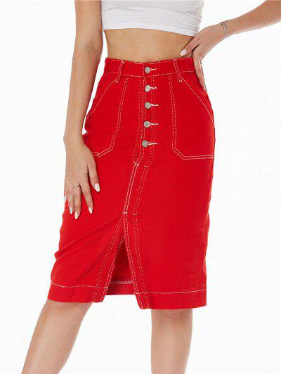 Topstitching Button Fly Colored Denim Skirt - Red M