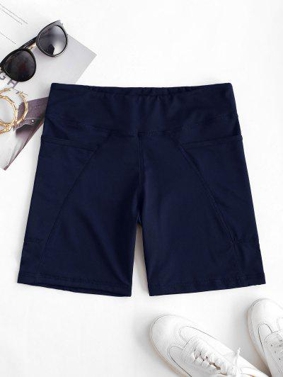 High Rise Pocket Stretchy Biker Shorts - Blue S