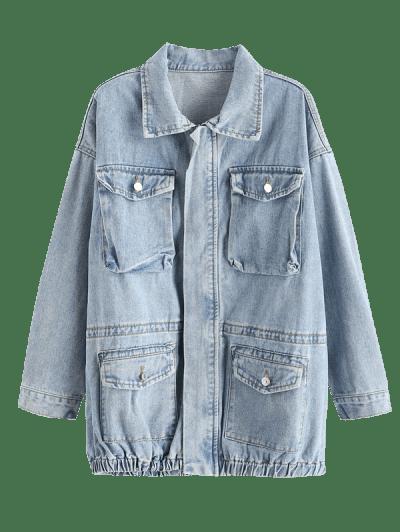 Grunge Boyfriend Light Wash Cargo Jean Coat