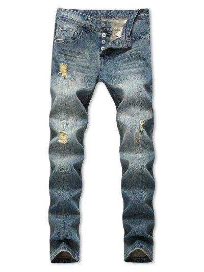 Distressed Ripped Straight Long Jeans - Blue 38