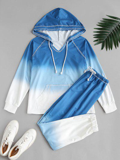 Ombre Tie Dye Front Pocket Lounge Two Piece Set - Blue S