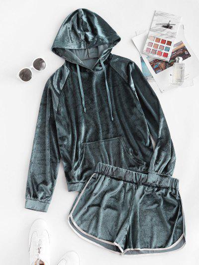 Pocket Velvet Raglan Sleeve Hooded Dolphin Shorts Set - Deep Blue L