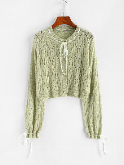 Pointelle Knit Ribbon Tie Drawstring Cardigan - Light Green
