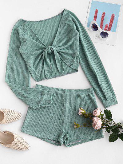 Textured Tie Front Raglan Sleeve Two Piece Set - Green M