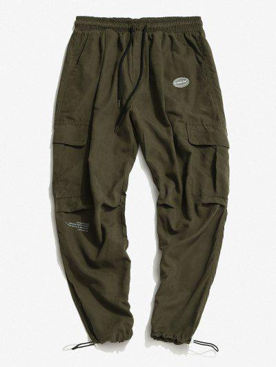 Letter Applique Toggle Drawstring Cargo Pants - Green M
