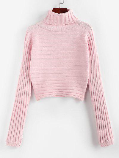 ZAFUL Ribbed Turtleneck Crop Jumper Sweater - Light Pink L