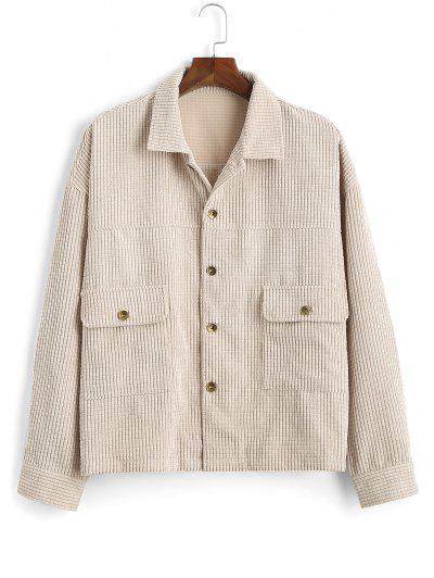 Flap Pocket Ribbed Plain Drop Shoulder Jacket - Light Yellow S