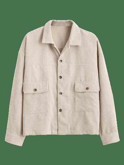 Flap Pocket Ribbed Plain Drop Shoulder Jacket