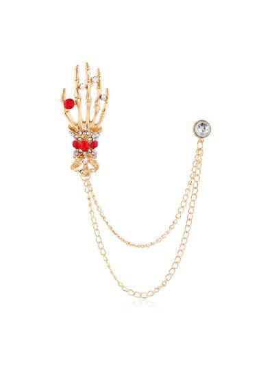 Halloween Skeleton Hand Rhinestone Brooch - Golden