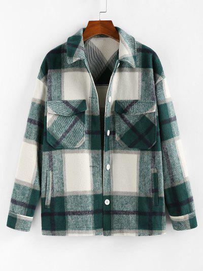 ZAFUL Plaid Pockets Coat - Greenish Blue L