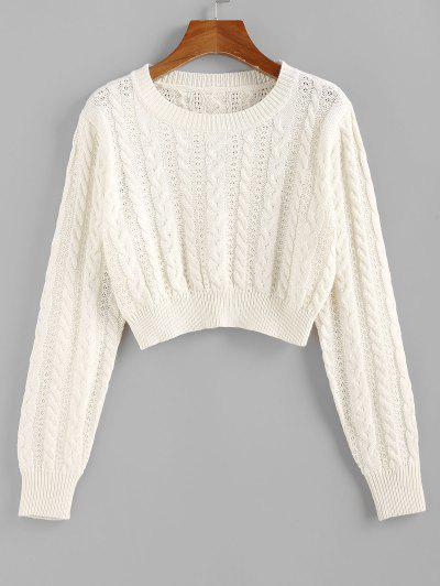 ZAFUL Cable Knit Openwork Crop Sweater - White S