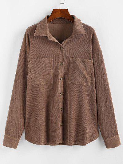 ZAFUL Corduroy Pocket Drop Shoulder Shirt Jacket - Brown M