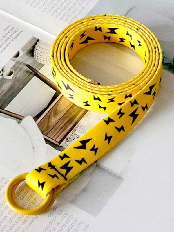 Rings Canvas Lightning Pattern Belt