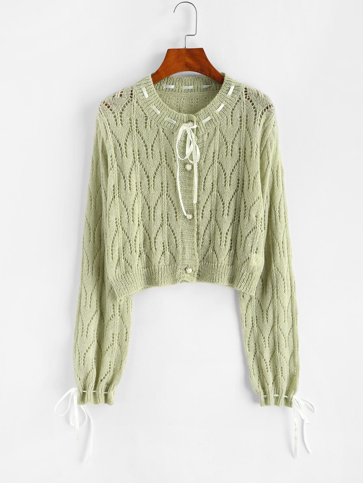 Pointelle Knit Ribbon Tie Drawstring Cardigan