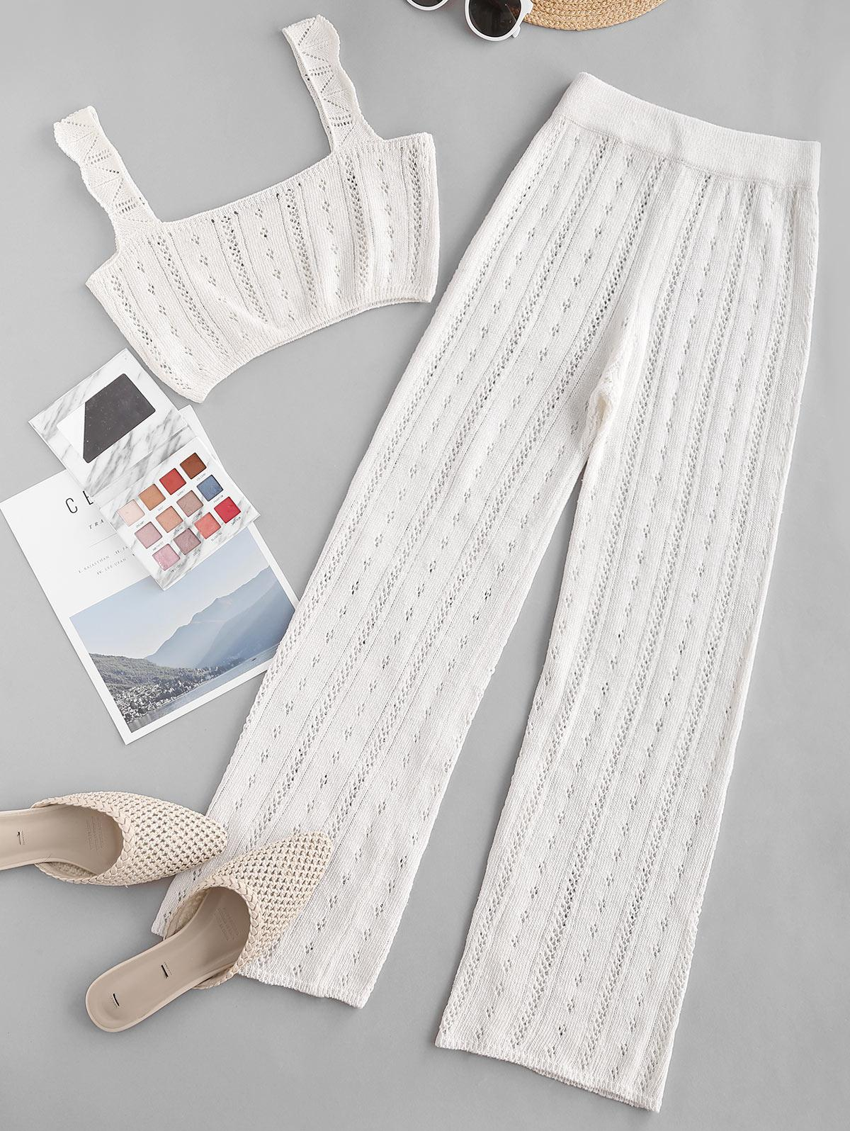 Pointelle Knit Square Neck Two Piece Pants Set