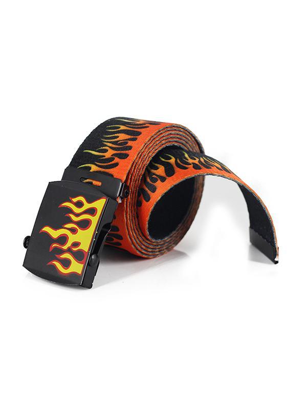 Flame Pattern Fabric Waist Belt