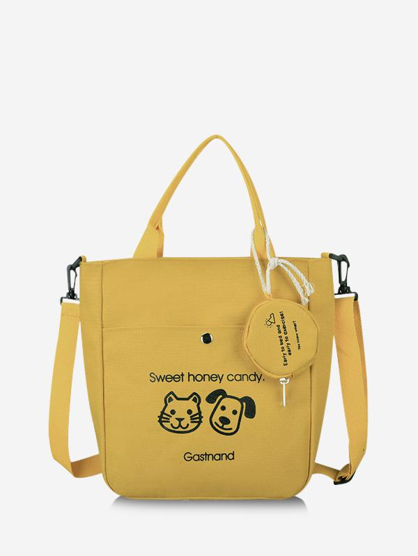Cute Animal Graphic Canvas Top Handle Shoulder Bag