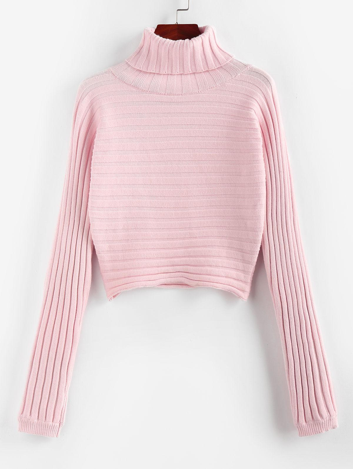 ZAFUL Ribbed Turtleneck Crop Jumper Sweater