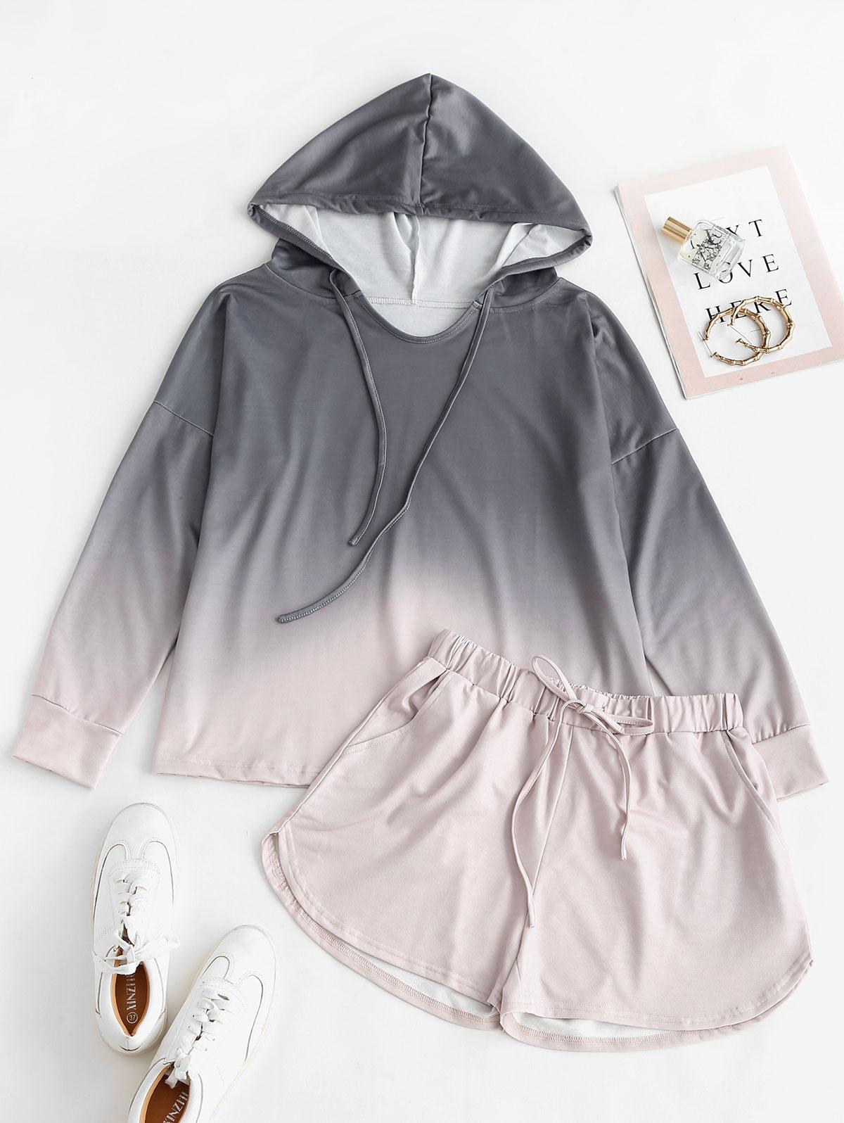 Drawstring Lounge Ombre Two Piece Set