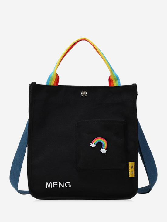 Rainbow Graphic Front Pocket Canvas Shoulder Bag