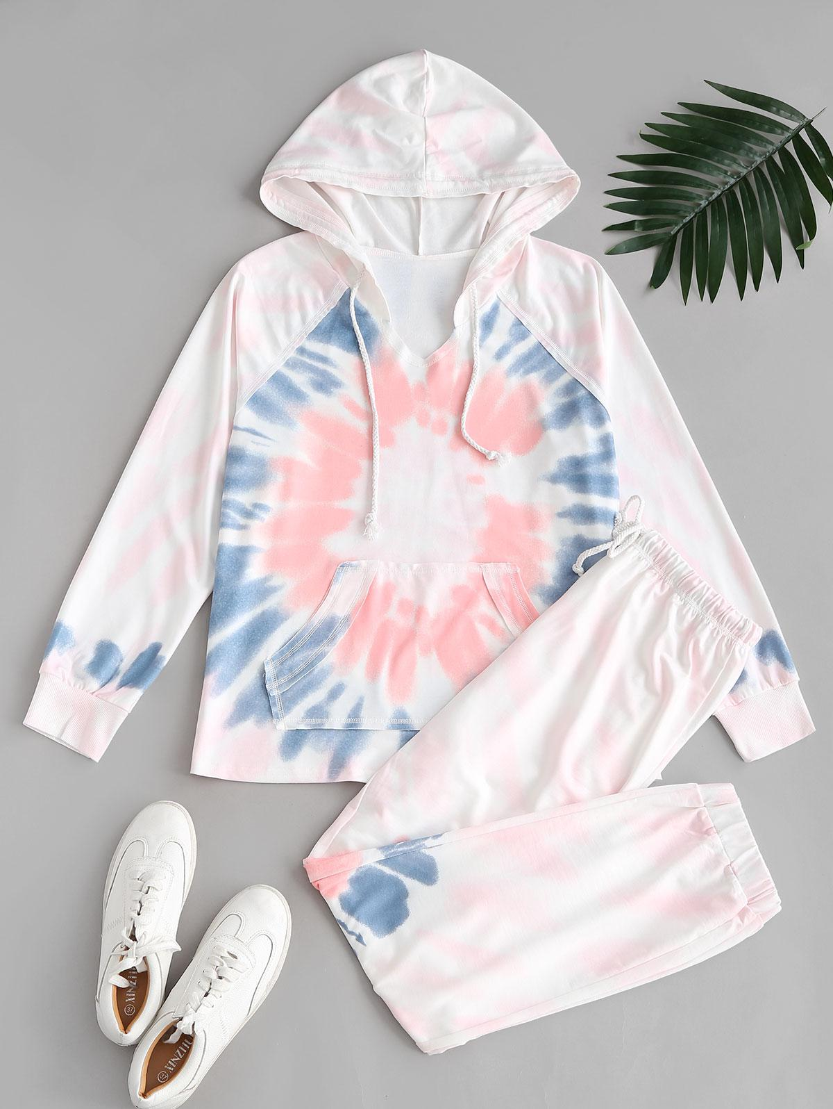 Ombre Tie Dye Front Pocket Lounge Two Piece Set