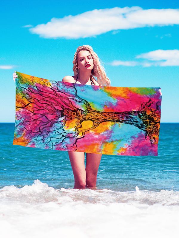 Colored Tree Trunk Print Beach Throw