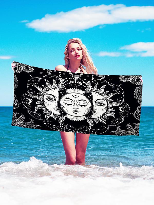Bohemian Sun And Moon Face Print Beach Throw