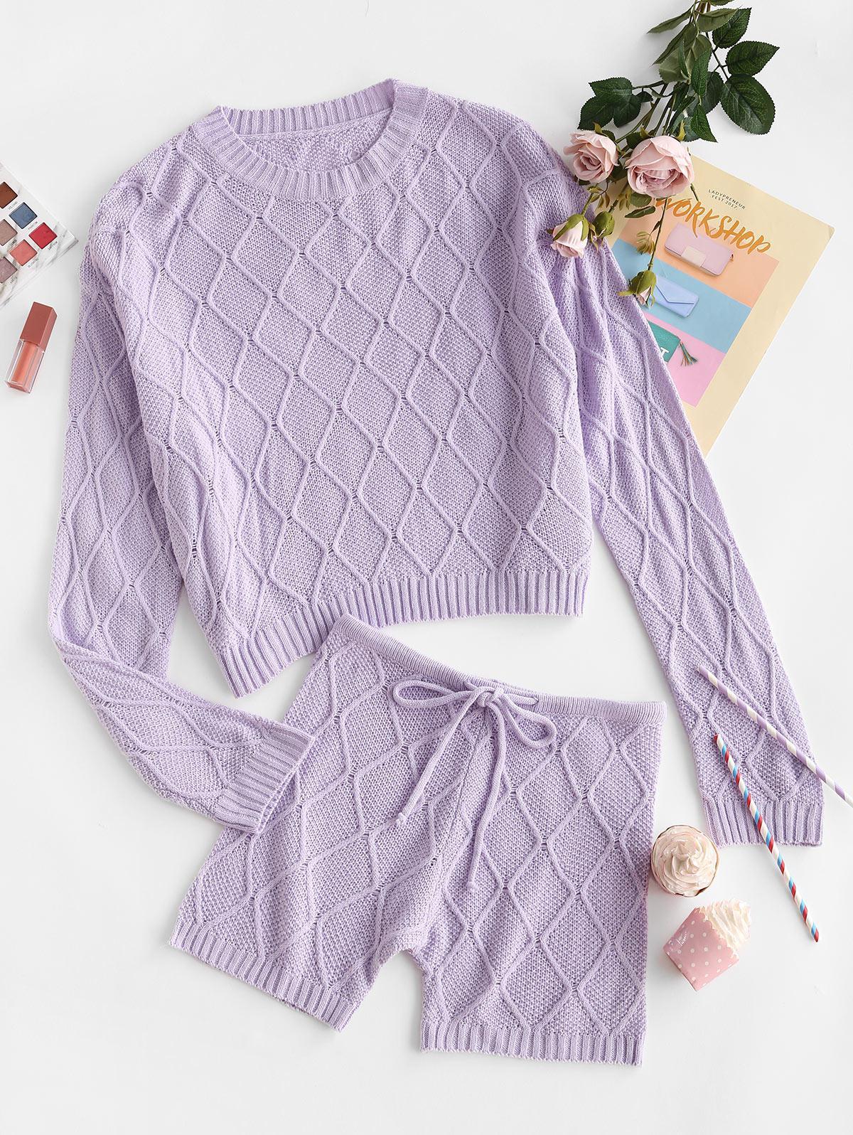 Rhombus Knit Drop Shoulder Drawstring Sweater and Shorts Set
