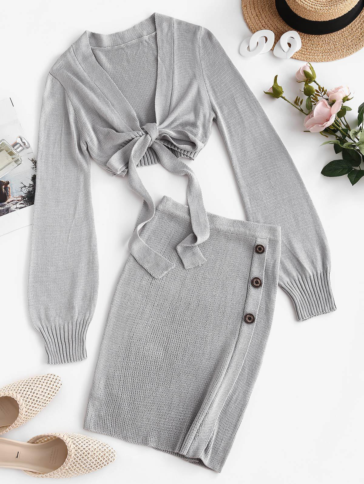 Knitted Tie Front Mock Button Skirt Set