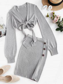 Knitted Tie Front Skirt Set