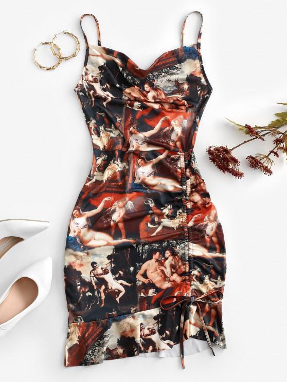 chic Cinched Ruffle Hem Open Back Angel Print Dress - MULTI M