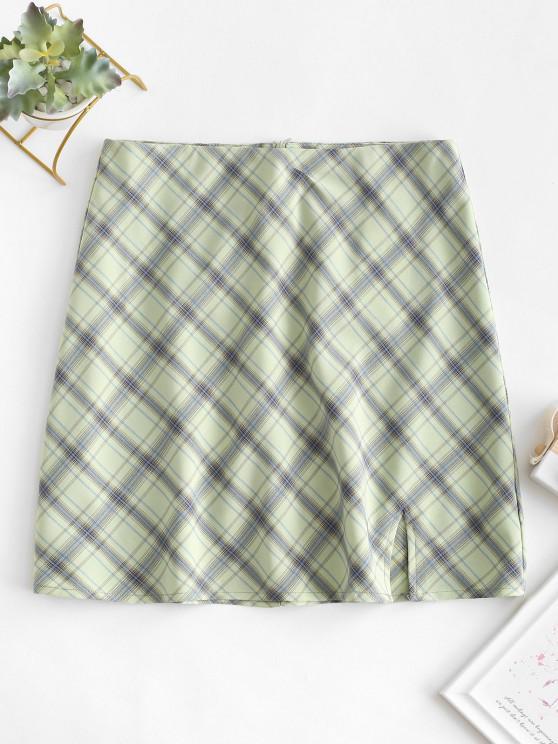 Falda en a a Cuadros Corte - Verde L