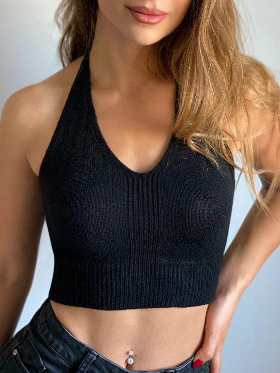 chic Solid Knitted Halter Crop Top - BLACK S