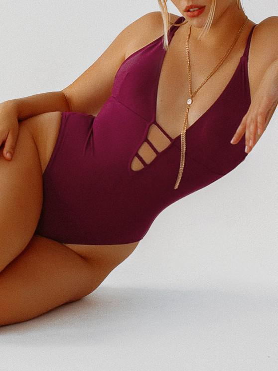 ZAFUL Braided Straps Backless Lattice One-piece Swimsuit - فطيرة بلوم M