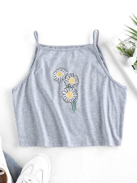 online ZAFUL Flower Print Crop Cami Top - LIGHT GRAY S