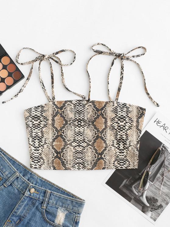 women ZAFUL Snakeskin Print Cami Cropped Top - MULTI-A L