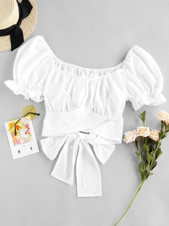fashion ZAFUL Ruffle Cuff Puff Sleeve Knot Tie Crop Blouse - WHITE S