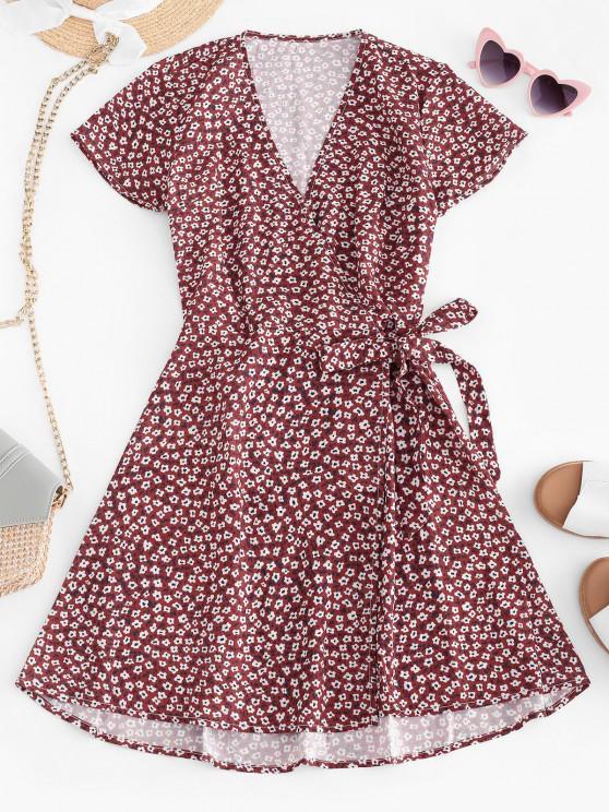latest Tiny Floral Tie Waist Surplice Mini Dress - DEEP RED M