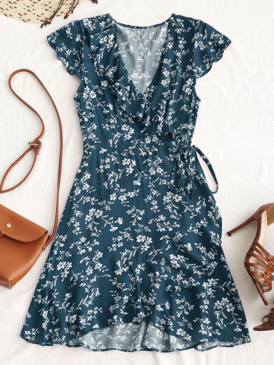 Winziger Blumen Rüschen Mini Wickelkleid - Pfauenblau M