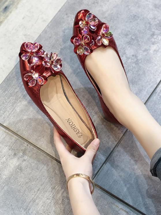 Zapatos Planos Imitación Cuero Adorno Floral - Rojo Lava EU 38