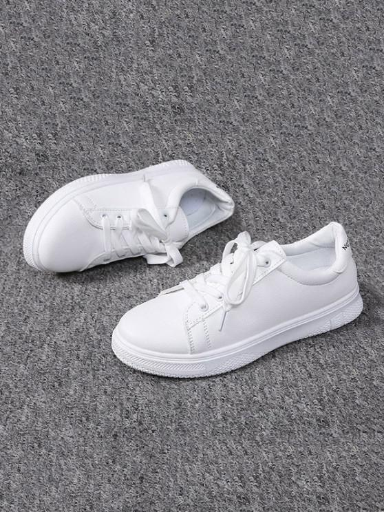new Lace-up Flat Sports Shoes - WHITE EU 38