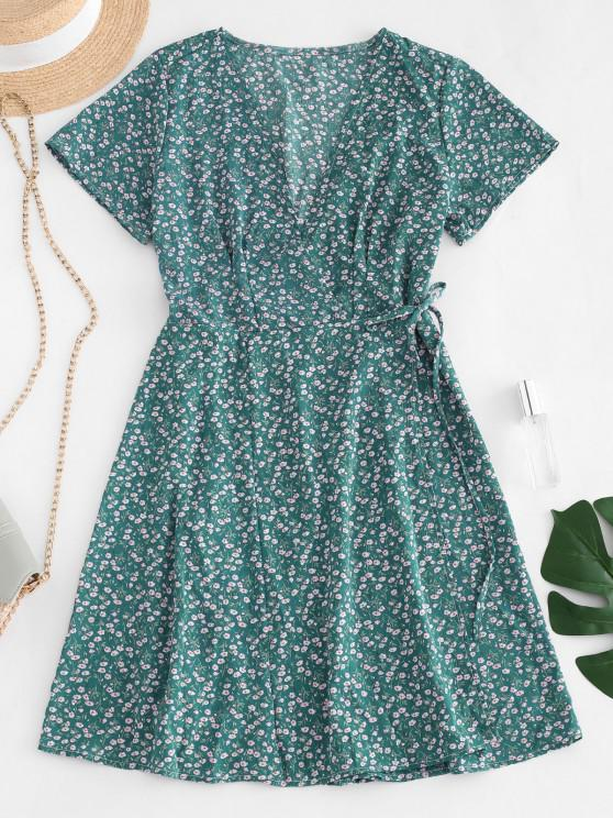 trendy Ditsy Floral Wrap Dress - GREEN S